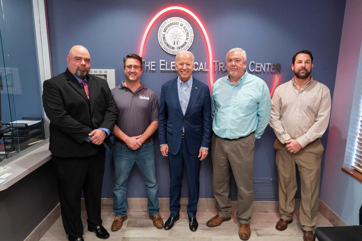 Democratic Presidential Primary Candidate Joe Biden Tours Electrical Trades Center